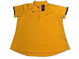 Under Armour Womens HeatGear 5-button polo shirt Yellow w/Black trim 2XL NEW