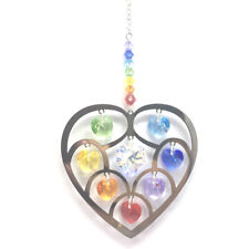 Heart of Hearts Chakra Hanging Crystal Suncatcher with Swarovski® hearts and bea