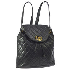 CHANEL Quilted CC Logos Chain Backpack Bag Black Leather Vintage AK36840k