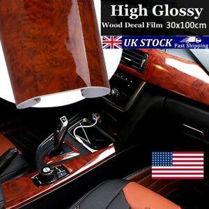High-Glossy Wood Grain Wrap Film Car Interior DIY Vinyl Sticker Decal Waterproof