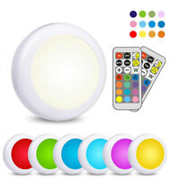 LED RGB Color Changeable Under Cabinet Kitchen Shelf Down Light Round+Remote Set