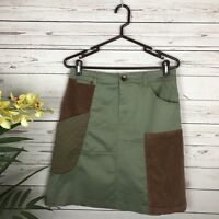 Anthropologie Meadow Rue Green & Brown Patchwork Ranch Skirt Women's Size US 8