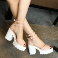 New Womens Fashion Open Toe Block Chunky Heels Platform Shoes Sandals College