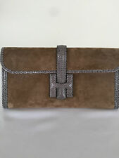 NEW WITH TAGS HERMES JIGE SUEDE WITH LIZARD ELAN CLUTCH MARRON GLACE AGATE  29CM 5df022eff