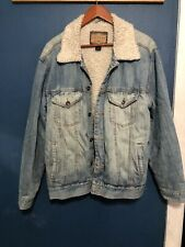 Arizona Jean Company Sherpa Lined Denim Jacket Men's Size Large Used