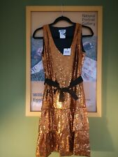 MOSCHINO Cheap And Chic orange sequinned flapper dress, ra-ra skirt, size 40/8