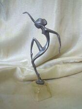 Statua Ballerina in Peltro Stilizzata base marmorea