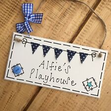 Play House Sign Plaque Summer Wendy Cottage Shed Gift Hanging Garden Blue