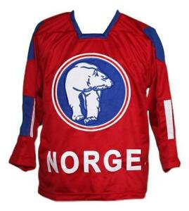 Any Name Number Norway Norge Retro Custom Hockey Jersey Skroder Red