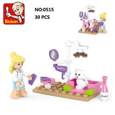 Sluban B0515 Pink Cat Pet Care Animal Figure Building Block Toys blocks toy