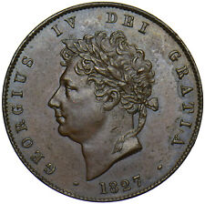 More details for 1827 halfpenny - george iv british copper coin - very nice