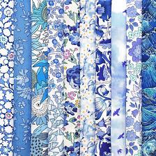 "*10 Liberty Print Tana Lawn pieces* - each min. 5"" x 5"" - BLUE 2"