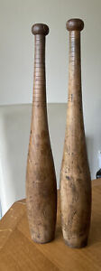 """Rustic Vintage Wooden Indian Exercise Clubs, 20"""" High."""