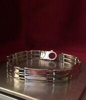 """Vintage Solid Sterling Silver 8.5"""" Bracelet 10mm Wide Hallmarked 925."""
