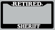 Black License Plate Frame Retired Sheriff Auto Accessory Novelty