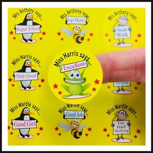 Teacher / Teaching Assistant or Parent Reward Stickers Personalised for Children