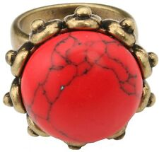 Zest large jasper stone ring set in an antique golden surround rouge medium