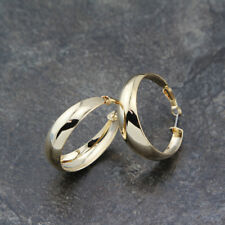 Women 18K Yellow GOLD Plated 40mm Polished Ladies Dangle Hoop Earrings Stunning