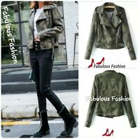 WOMENS TRENDY FAUX LEATHER CAMOUFLAGE PRINT MOTO STYLE SHORT JACKET. L