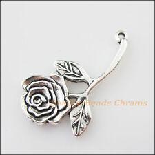 3Pcs Tibetan Silver Tone Branch Leaf Flower Charms Pendants 19x33.5mm