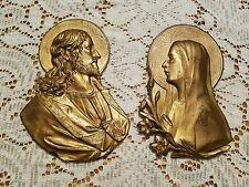 1900-1930's Antique LVA Ronson Jesus Virgin Mary Cast Metal Wall Plaques Gold