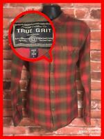 True Grit Mens L Large Red Green Plaid Button Front Shirt Outdoors Flannel
