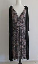 AVELLA Black V Neck Soft Stretchy Evening/Work/Casual Dress Sz 18-20, AS NEW!!