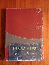 Portuguese English Bible, NIV/NVI Parallel Bible, Im Leather, Burgundy/Grey