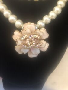 Betsy Johnson Pearl Necklace with Chanel Button