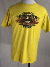 Vintage AMERICAN BUILT Motorcycle Ride With PRIDE  Eagle Engine  YellT Shirt L