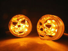 Motorcycle 3D Skull Skeleton LED Turn Signal Indicator Light For Honda Chrome
