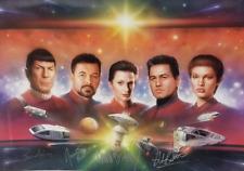 STAR TREK FIVE COMMANDERS LITHO SIGNED Nimoy, Frakes Blalock, Beltran, Visitor