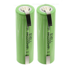 2x Exell 1.2V AA Size 2200mAh NiMH Rechargeable Batteries  w/ Tabs USA SHIP