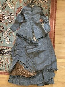 Antique 1870s Silk Brocade Three Peice Dress Ensemble With Fringe