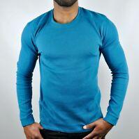 Calvin Klein CK Solid Crew Neck Military Style Knit Sweatshirt Jumper