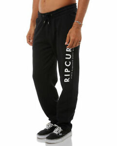 Rip Curl Mens Fleece Track Pants Sports Tracksuit Joggers Sweatpants Black S-3XL