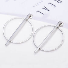 New Women Fashion 925 Sterling Silver Plated Bar Hoop Small Dangle Stud Earrings