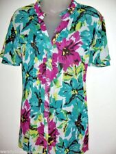 Millers Size 22 Short Sleeve Colourful Floral Button Blouse Frilled To Collar