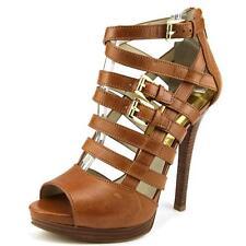 Michael Kors Women's Luggage Sandra Platform Leather Heel Shoes Ret 9
