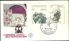 ITALIA BUSTA 1979 FILAGRANO TELECOMUNICAZIONI IL TELEFONO FDC ANNULLO PADOVA
