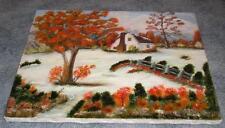 VINTAGE FOLK ART AMERICANA WHITE HOUSE AUTUMN WINTER SNOW LANDSCAPE OIL PAINTING