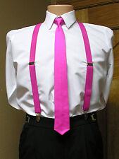 Men's clip-on suspenders x back and Skinny Tie Retro Steampunk Costume Tux Prom