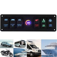 1PC 12V Rocker Switch Panel 6 GANG Circuit Breaker LED Voltmeter RV Auto Marine