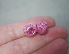 2 Metal Mesh Charm Beads - Pink - 12mm x 10mm, for Charm Bracelet