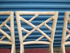 6 Fretwork Bamboo Chairs Chinese Chippendale Hollywood Regency Dining Rattan SIX