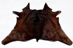 "Rare Cowhide Rugs Calf Hide Cow Skin Rug (28""x30"") Dark Brownish Black CH8548"