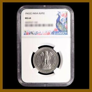India 1 Rupee Coin, 1962 (C) Calcutta NGC MS 64 Wheat Stem Lion 4465947-147