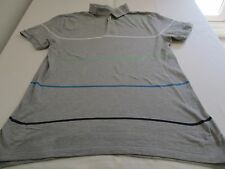 "GAP MANS FAB 100% COTTON LIGHT GREY POLO SHORT SLEEVE TOP CHEST 38"" - 40"" STRIPY"