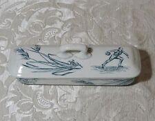Scatola ceramica con giocatore a palla 1890 Porta pettine / spazzolini / penne