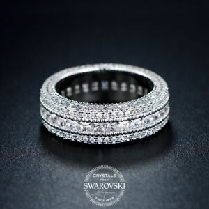 Engagement Wedding Band Eternity Ring 18K White Gold Plated 2ct Emerald